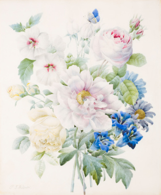 Pierre-Joseph Redoute. Bouquet: peonies, roses, gentian, hibiscus and blue butterfly