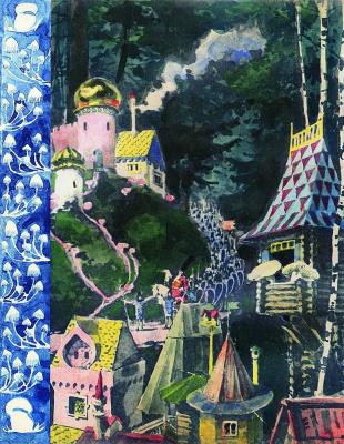 "Elena Dmitrievna Polenova. Illustration for the fairy tale ""Mushroom War"""