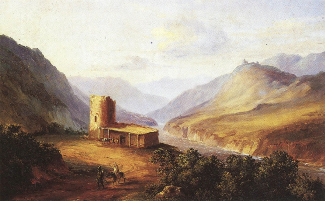 Mikhail Yurjevich Lermontov. Caucasian view with a huckle