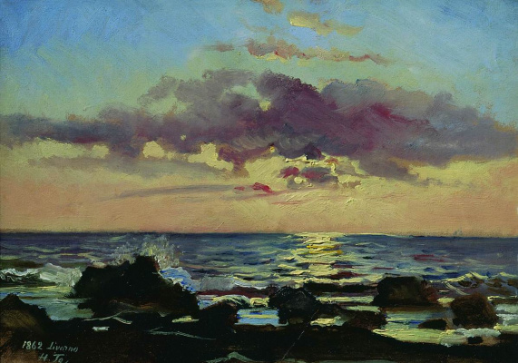 Nikolai Nikolaevich Ge. Sunset on the sea in Livorno. Etude