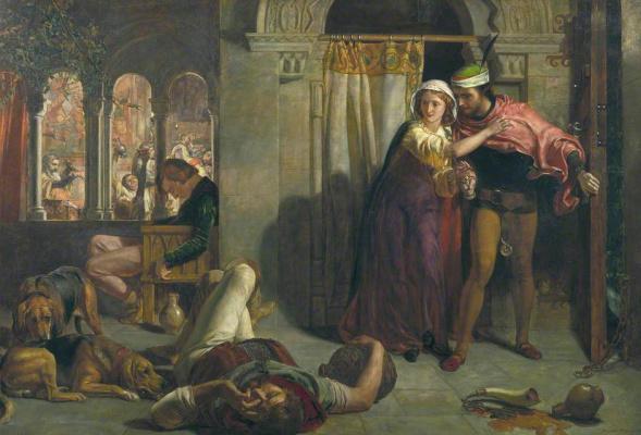 Уильям Холман Хант. Полет Маделин и Порфиро, посещающих попойку накануне дня святой Агнессы (холст)