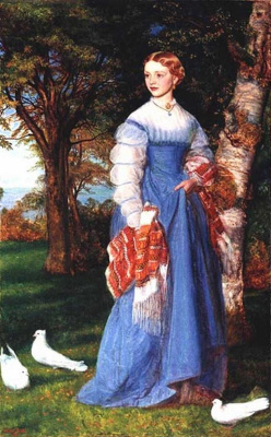 Arthur Hughes. Portrait of Mrs. Louise Jenner in Edinburgh Landscape