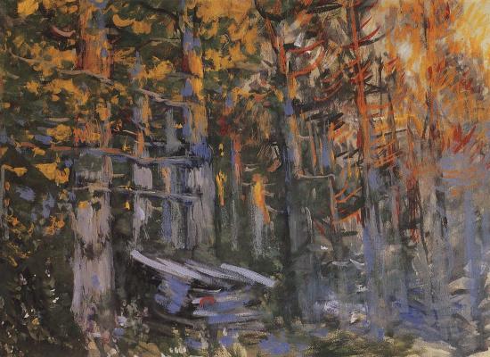 "Konstantin Korovin. Forest. A sketch of the scenery for the Opera N.. Rimsky-Korsakov's ""the legend of the invisible city of Kitezh"""