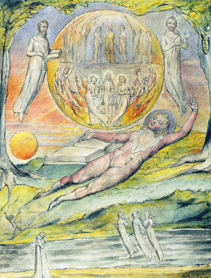"""William Blake. The dream of the young poet. Illustrations to the poems of Milton's """"Fun"""" and """"Thoughtful"""""""
