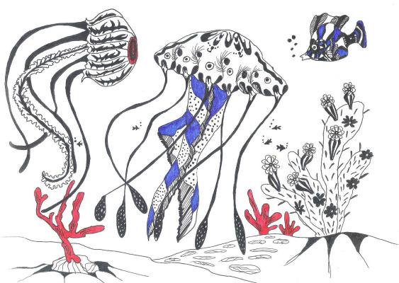 "Николай Николаевич Оларь. Series of stylized drawings: ""Underwater fantasy"" (6)"