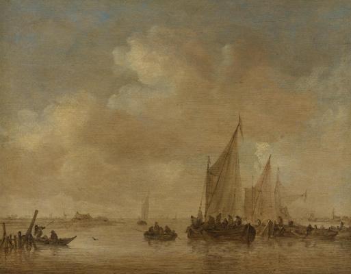 Ян ван Гойен. Рыболовные лодки в устье реки