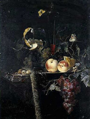 Willem van Aelst. Still life with butterflies, fruit and glass