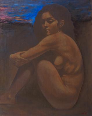 Azat Agassievich Pogosian. Jeune femme nue avec le ciel du soir