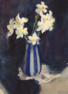 Still life with daffodils in a striped vase. 1968