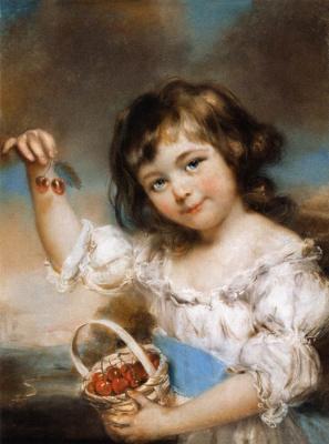 John Russell. Little girl showing cherry