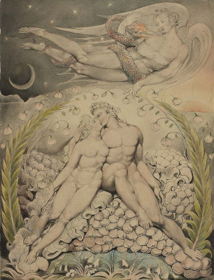 "Satan watching the caresses of Adam and eve. Illustration to the poem of Milton's ""Paradise Lost"""