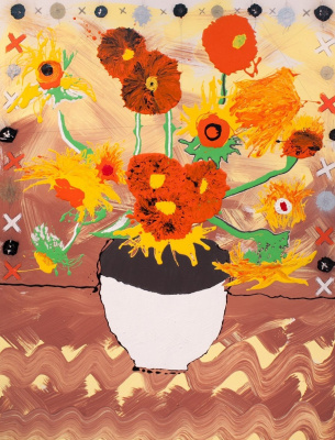 Sunflowers. Pt 3. A reproduction from van Gogh. Own technique. MDF, acrylic, varnish. 70x90 cm 2014