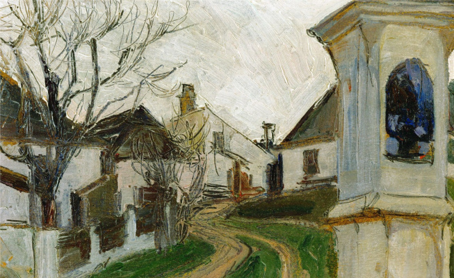 Egon Schiele. The monastery, houses and naked trees