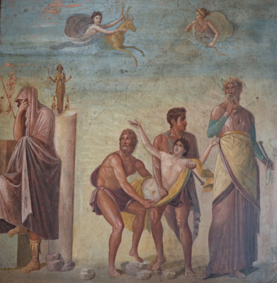 Masterpieces of unknown artists. The Sacrifice Of Iphigenia. Fresco from Pompeii (House of the Tragic poet)