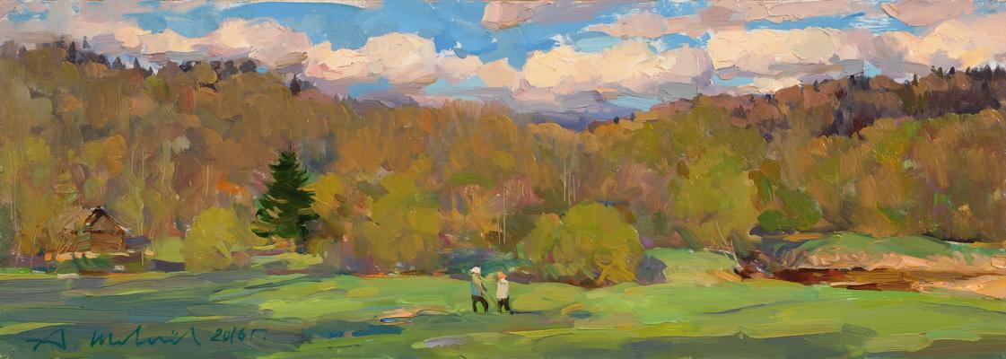 Александр Викторович Шевелёв. Conversation. D.V.P. Oil 17 x 47 cm. 2016