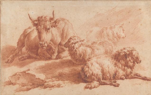 Адриан ван де Вельде. Корова и три овцы