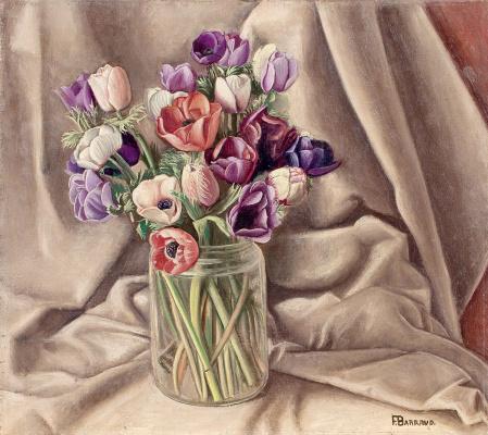 Francois-Emile Barro. Bouquet of anemones