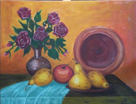 Nataly Yakubovskaya. Still life with pears