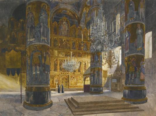 Franz Copallicus Austria 1860 - 1931. Interior of the Cathedral of the Assumption of the Blessed Virgin in the Moscow Kremlin.