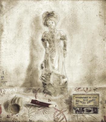 Zuguharu Fujita (Léonard Fujita). Still-life with a porcelain figurine
