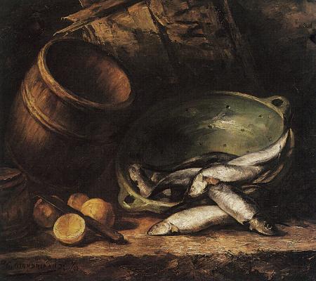 Piet Mondrian. Still life with herring
