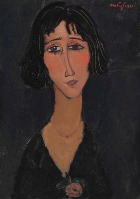 Амедео Модильяни. Молодая женщина с розой (Портрет Маргариты, сестры художника)