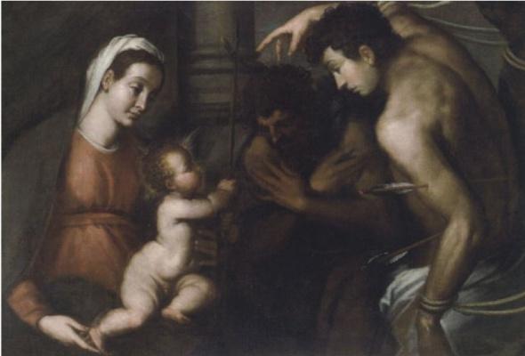 Джакомо Пальма Младший. Мадонна с младенцем Христом, святым Себастьяном и Иоанном Крестителем