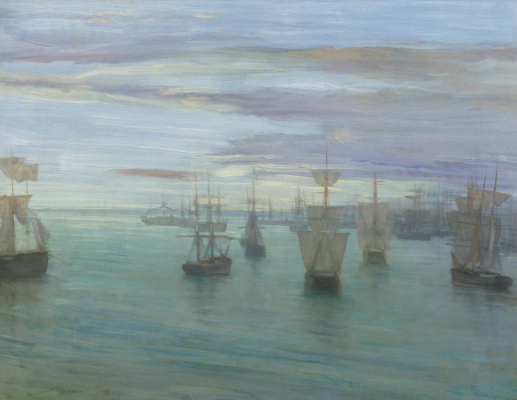 James Abbot McNeill Whistler. Dawn in Nude and green: Valparaiso