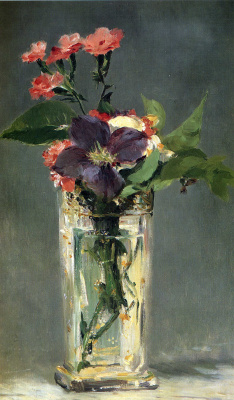 Edouard Manet. Carnations and clematis in a crystal vase