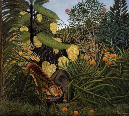 Henri Rousseau. Hungry tiger pounces on the Buffalo