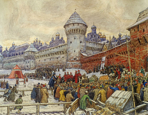 Apollinarius Mikhailovich Vasnetsov. Old Moscow. Departure after a fist fight