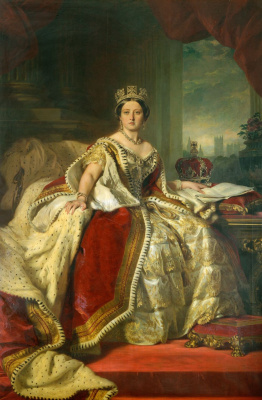 Franz Xaver Winterhalter. Queen Victoria on the throne