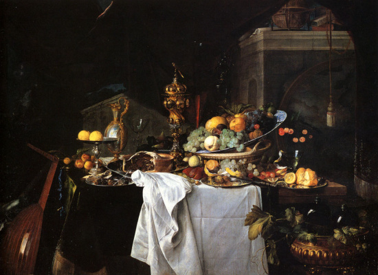 Jan Davids de Hem. Still life with dessert