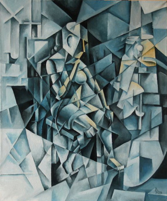 Vasily Krotkov. The woman at the floor lamp. Kubofuturizm