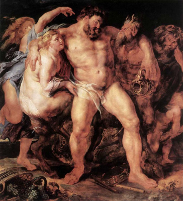 Peter Paul Rubens. Drunk Hercules with nymph and Satyr
