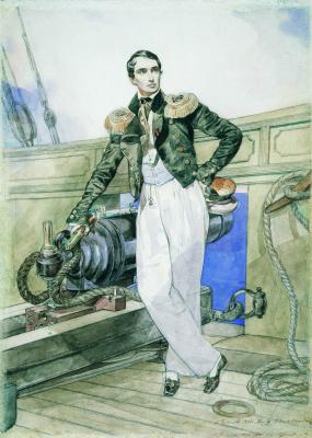 "Karl Pavlovich Bryullov. Portrait of V. A. Kornilov on Board the brig ""Themistocles"""