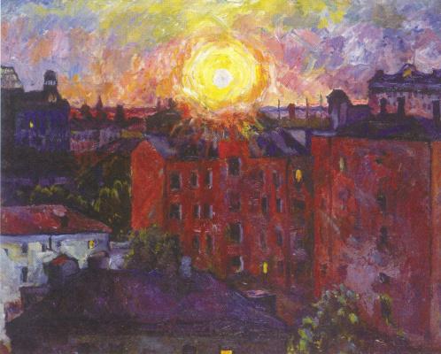Aristarkh Vasilyevich Lentulov. The sun above the roofs. Sunset