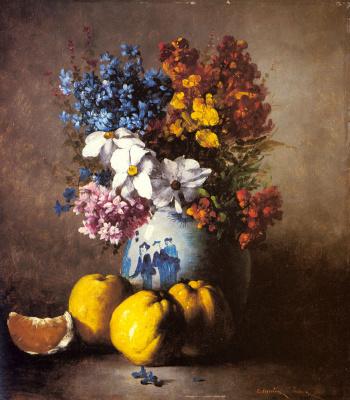 Огюстен Теодюль Рибо. Натюрморт с вазой цветов и фруктами