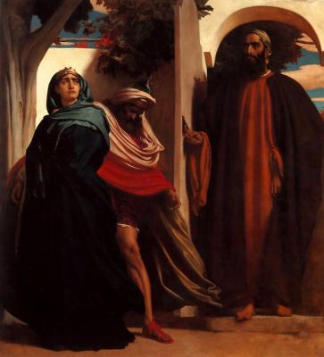 Frederic Leighton. Jezebel and Ahab met Elijah