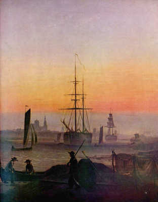 Caspar David Friedrich. The ships in the Harbor of Greifswald