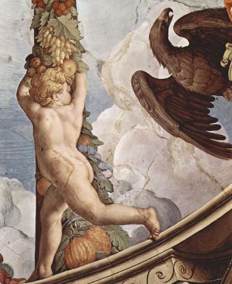 Аньоло Бронзино. Фрески капеллы Элеоноры Толедской в Палаццо Веккио во Флоренции, фреска на потолке. Деталь: гирлянда с ангелом