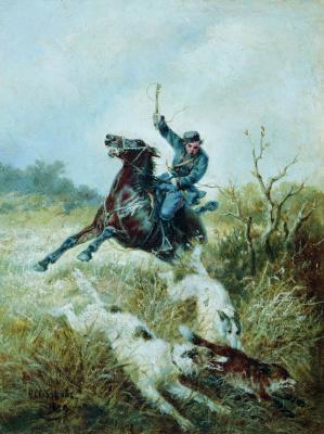 Nikolay Egorovich Sverchkov. Hunting with greyhounds. 1889