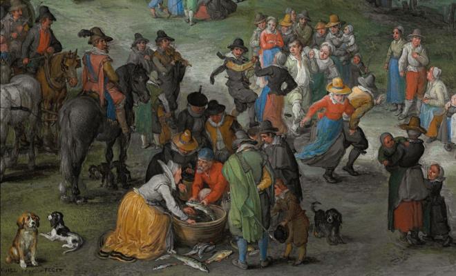 Jan Bruegel The Elder. Dancing figures on the banks of the river fragment. Dancers and a fishmonger