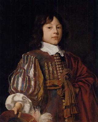 Ян Мейтенс. Портрет молодого джентльмена в бордовом дублете с рукавами и поясом с перьями с протянутой рукой