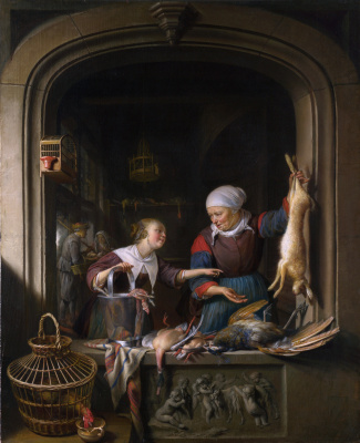 Gerrit (Gerard) Dow. In the shop from a traders poultry