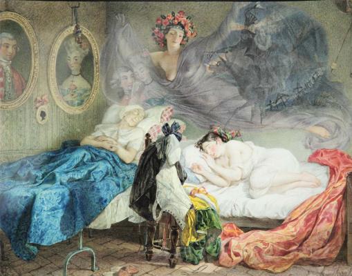 Karl Pavlovich Bryullov. Dream of grandmother and granddaughter