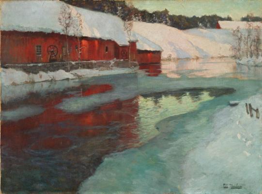 Frits Thaulow. Freezing river