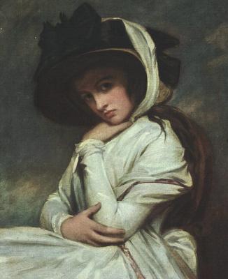 George Romney. Emma Hamilton in a black hat