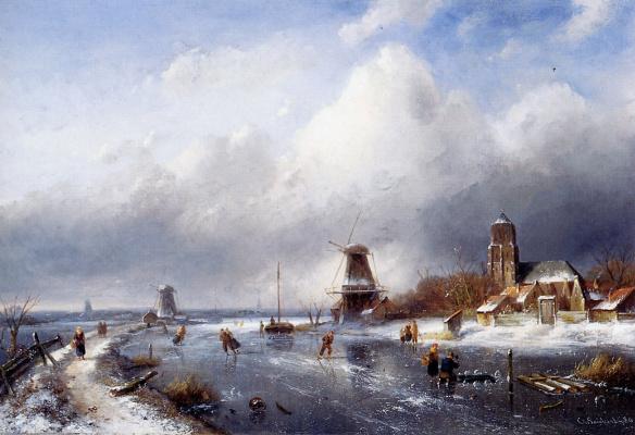 Чарльз Генри Джозеф Лейкерт. Зимний пейзаж с конькобежцами