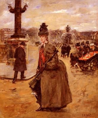 Эдуардо Леон Гарридо. Елегантная, площадь Конкорд, Париж